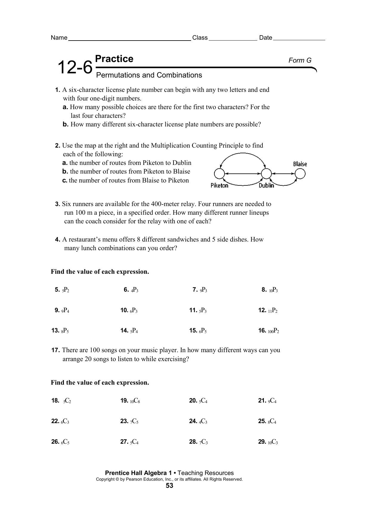 Permutations And Combinations Worksheet With Answers Doc