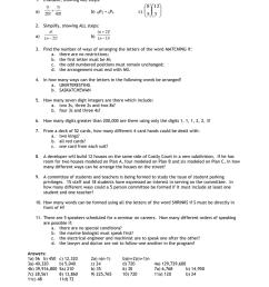 Lesson 7 – Permutations \u0026 Combinations Review Sheet [ 1024 x 791 Pixel ]