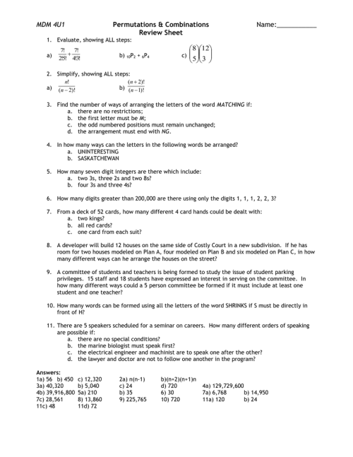 small resolution of Lesson 7 – Permutations \u0026 Combinations Review Sheet
