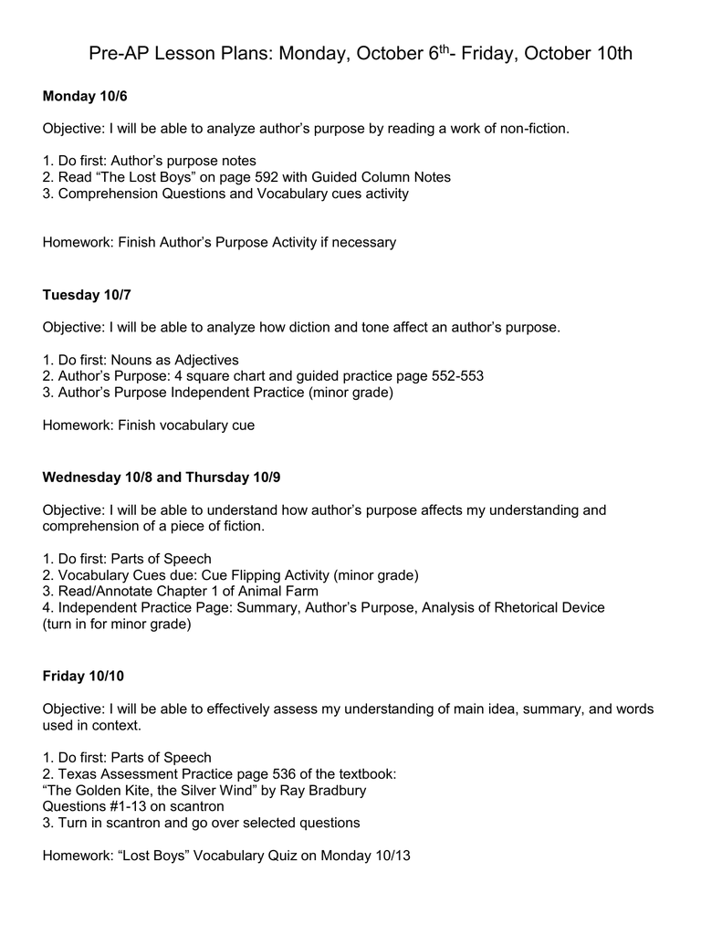 hight resolution of Pre-AP Lesson Plans: Monday