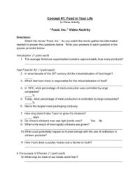Food Inc Worksheet Answers Key | Food