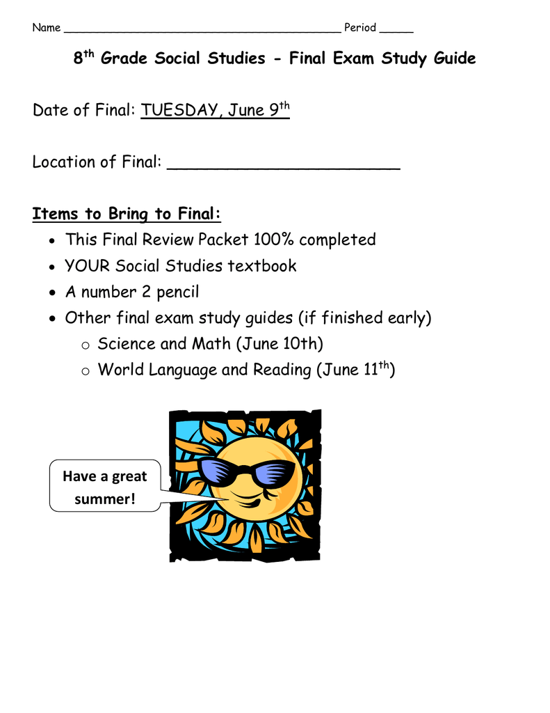 medium resolution of 8th Grade United States History Final Exam Review Packet - The Best Picture  History