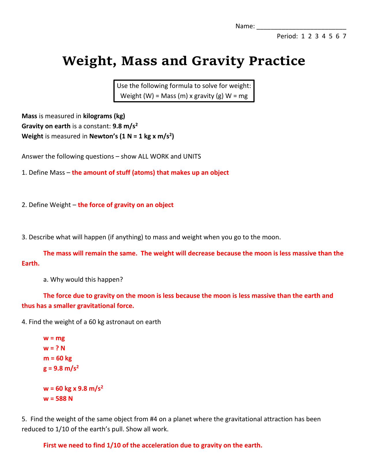 Mass And Weight Worksheet Answers