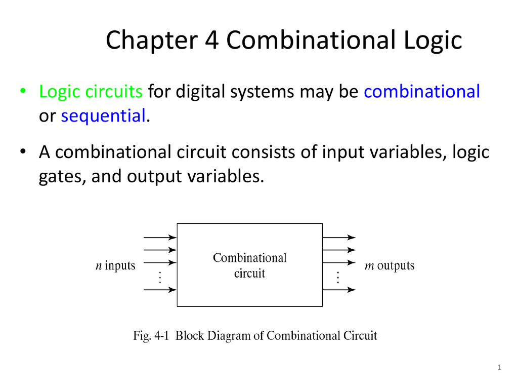 hight resolution of chapter 4 combinational logic logic circuits for digital systems may be combinational or sequential a combinational circuit consists of input variables