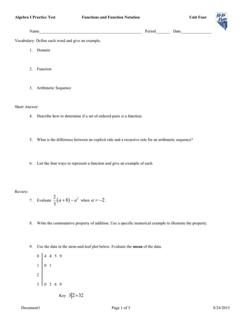 small resolution of Algebra 1 Function Notation Worksheet Answer Key - Promotiontablecovers