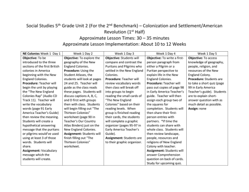 small resolution of Social Studies 5th Grade Unit 2 (For the 2nd Benchmark