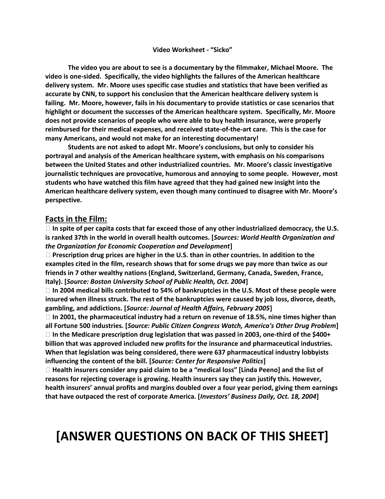 Sicko Information Sheet Discussion Questions