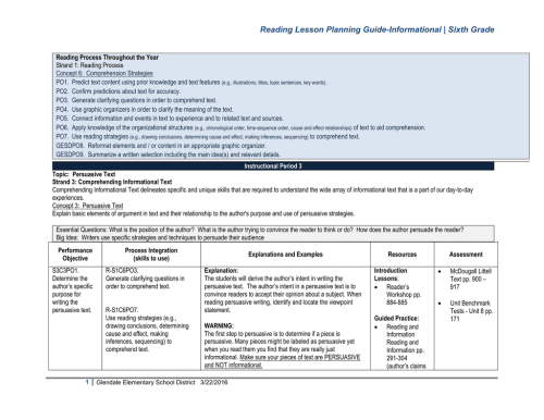 small resolution of 6 Sixth Grade Lesson Planning Guide-Informational BM3 6-7-2010