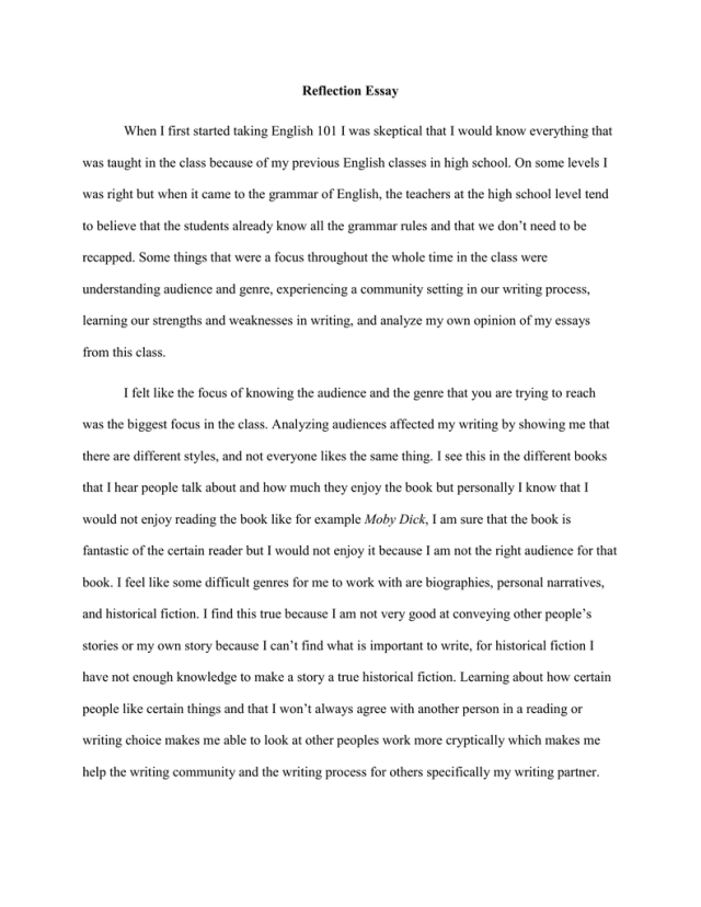 Eng 15 reflection essay