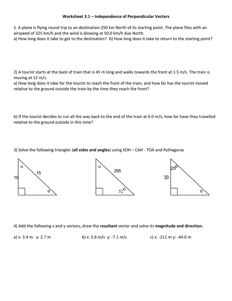 medium resolution of Vector Addition Worksheet Physics - Promotiontablecovers