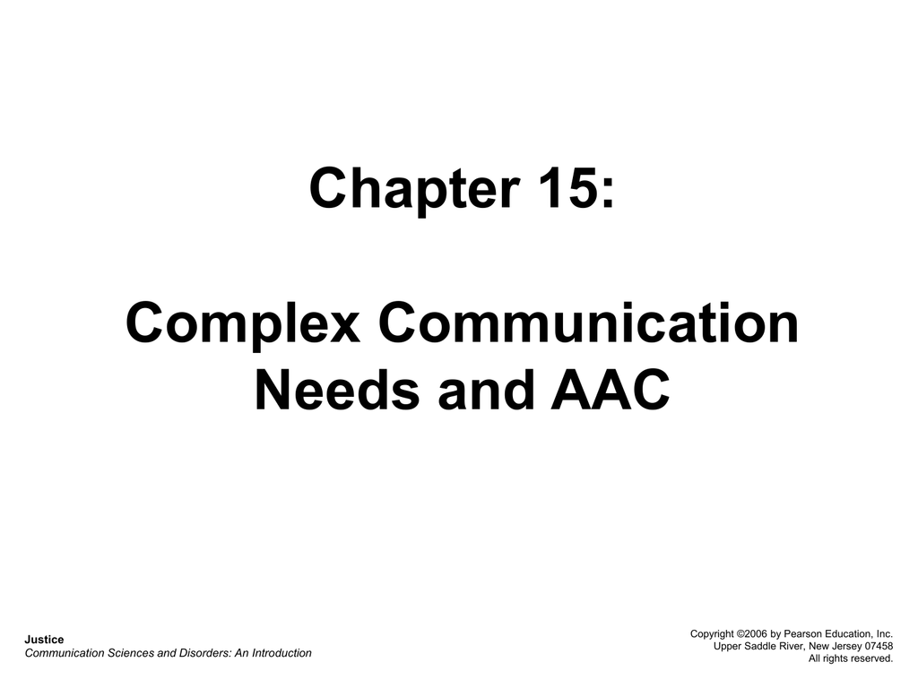 Chapter 15: Complex Communication Needs and AAC