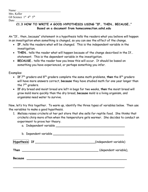 small resolution of C1.3 Hypothesis Worksheet