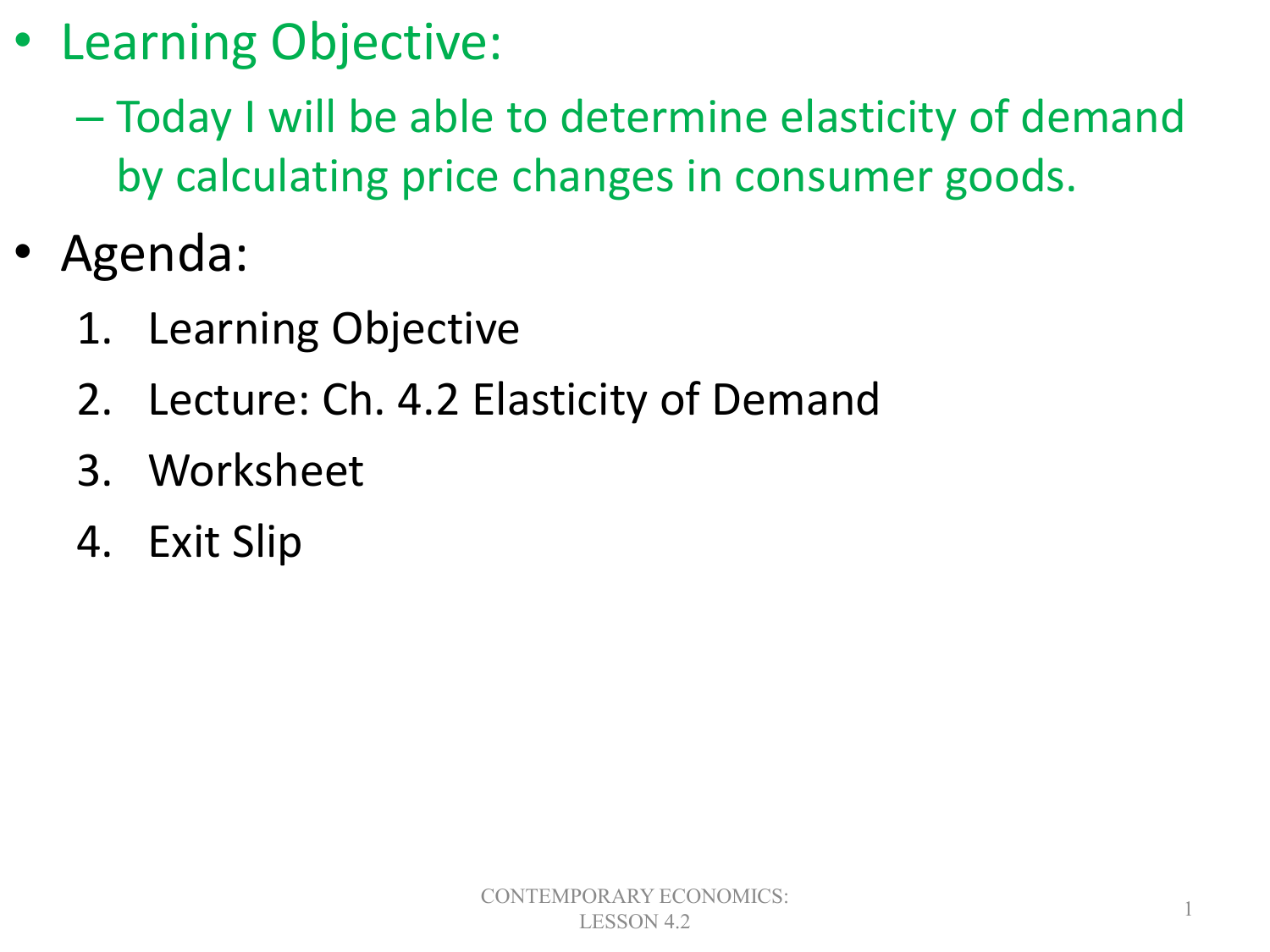 4 2 Elasticity Of Demand Objectives
