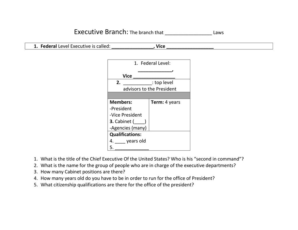 President S Cabinet Worksheet