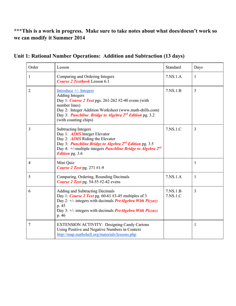 hight resolution of 7th Grade Math Resources Units 1-4