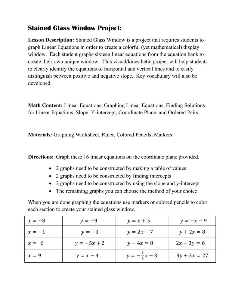 Stained Glass Slope Graphing Linear Equations Worksheet Answer Key : stained, glass, slope, graphing, linear, equations, worksheet, answer, Stained, Glass, Window, Project, Capstone