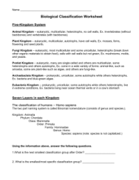 Printables. Biological Classification Worksheet. Mywcct ...