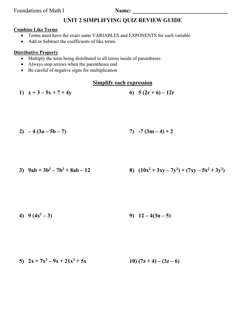 medium resolution of Distributive Property And Combining Like Terms Worksheet - Nidecmege