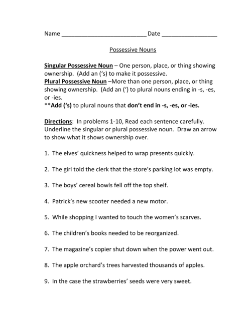 small resolution of Possessive Nouns Worksheet