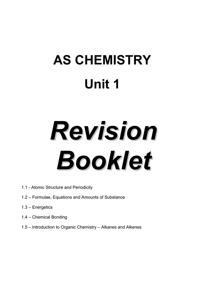 Revision Booklet Unit 1