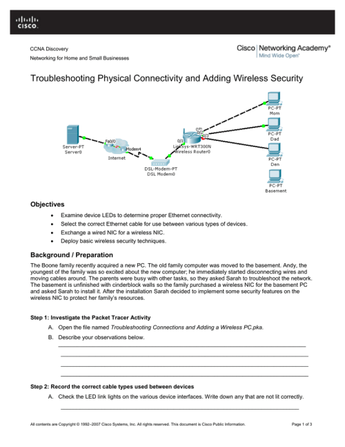 small resolution of  and adding wireless security objectives examine device leds to determine proper ethernet connectivity select the correct ethernet cable for