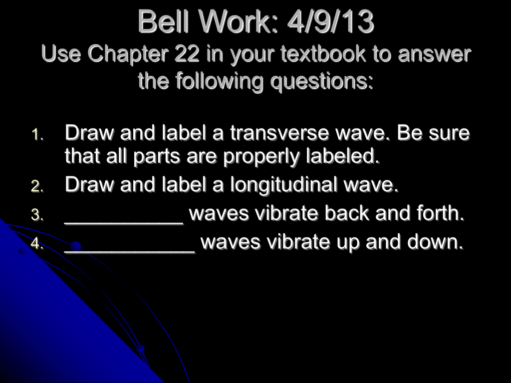 32 Draw And Label A Transverse Wave