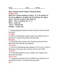 Work And Energy Physics Worksheet - Breadandhearth