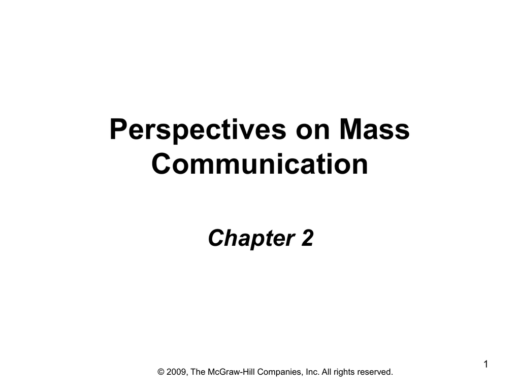Ch 2 Perspectives On Mass Communication FUNCTIONAL ANALYSIS