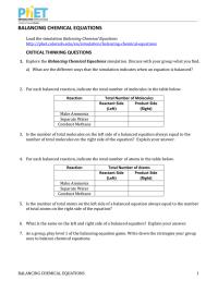 Phet Balancing Chemical Equations Worksheet Answers ...