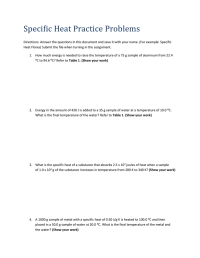 Specific Heat Practice Problems Worksheet With Answers ...