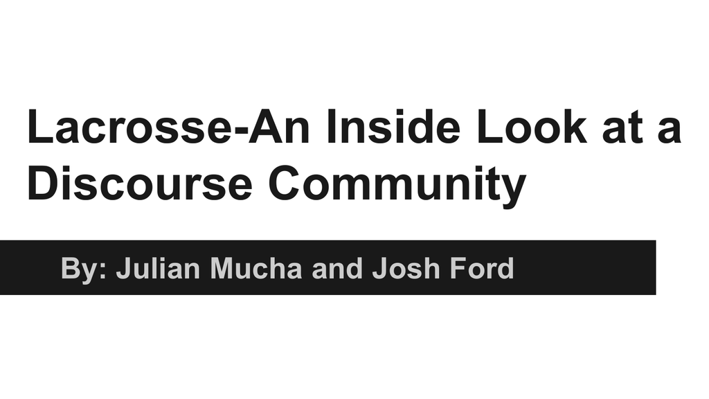 Lacrosse-An Inside Look at a Discourse Community