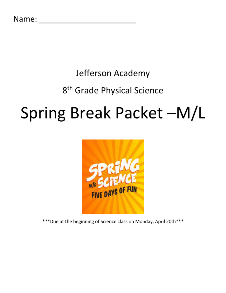 medium resolution of Spring Break Packet –M/L