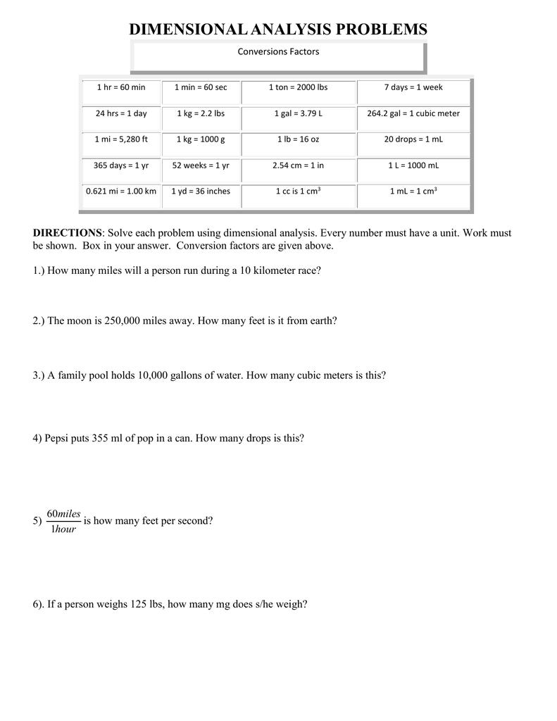 medium resolution of Dimensional Analysis Worksheet Chemistry Answer Key