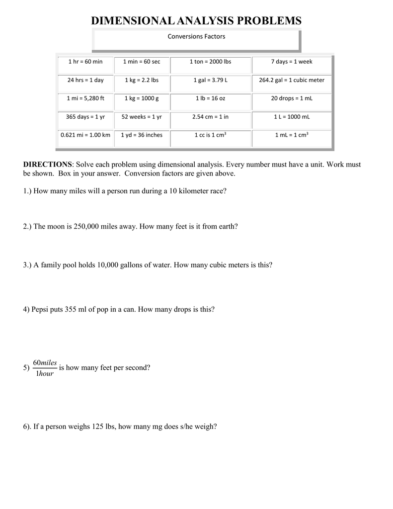 hight resolution of Dimensional Analysis Worksheet Chemistry Answer Key