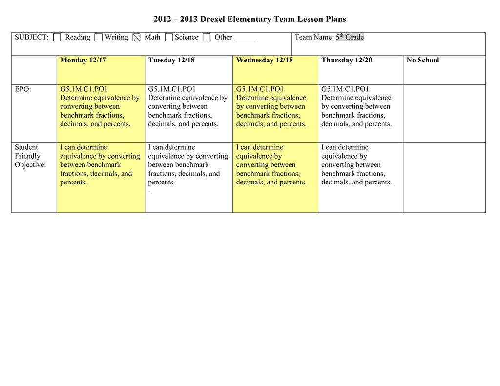 hight resolution of Math Lesson Plan Fraction Decimal Percent 12-17