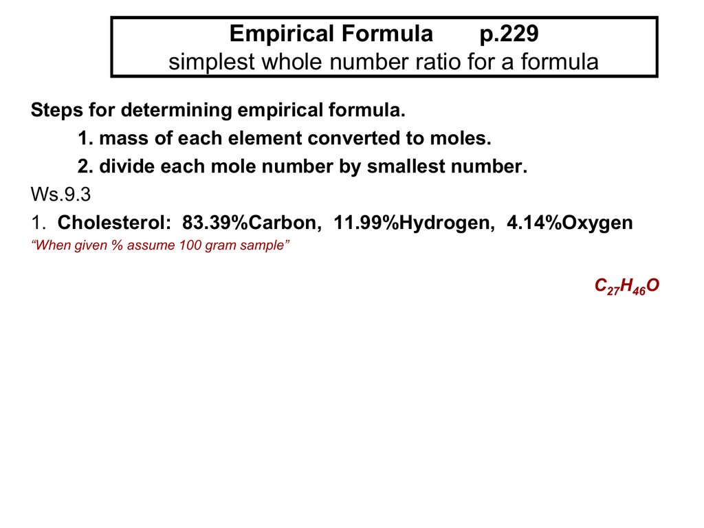 Empirical Formula Simplest Whole Number Ratio For A Formula