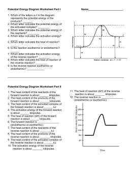 Potential Energy Diagram Worksheet ANSWERS