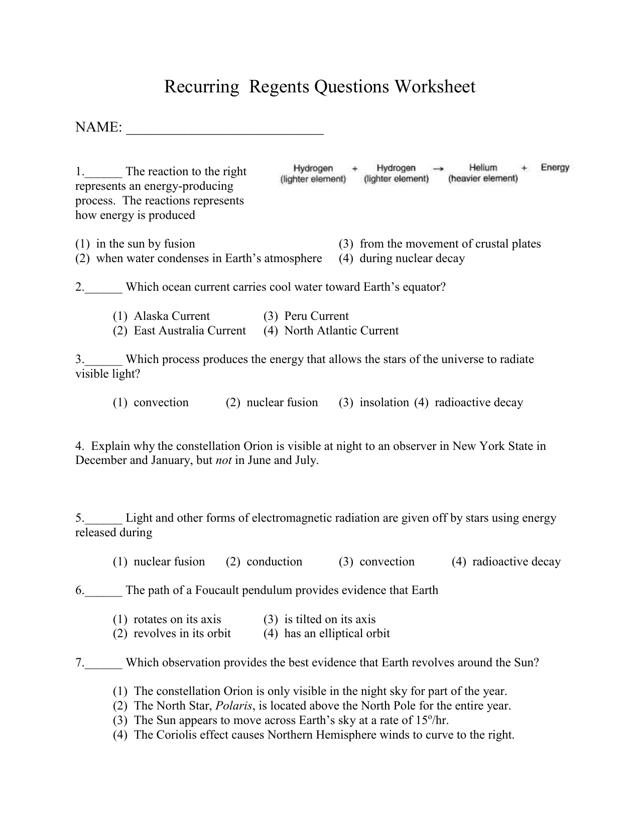 Review Worksheet On Recurring Regents Questions