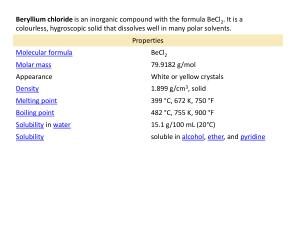the streak of beryllium is white
