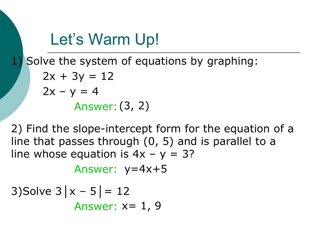 3 1 Graphing Systems Of Equations