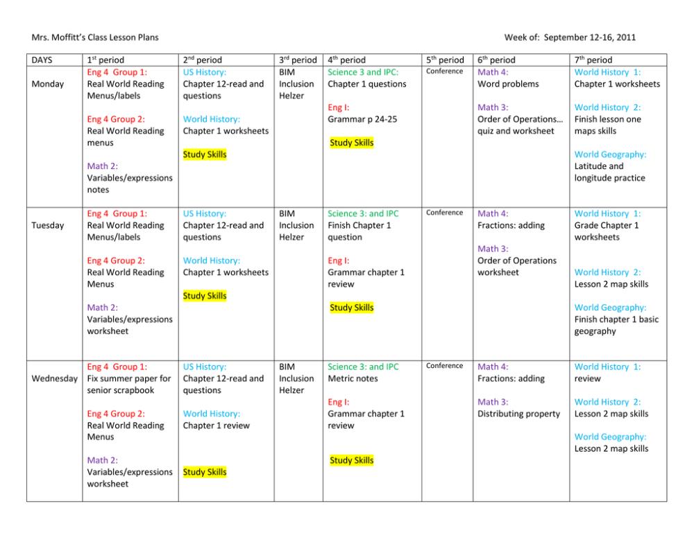 medium resolution of Mrs. Moffitt's Class Lesson Plans Week of: September 12