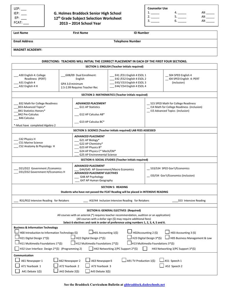 medium resolution of 12th Grade - G. Holmes Braddock