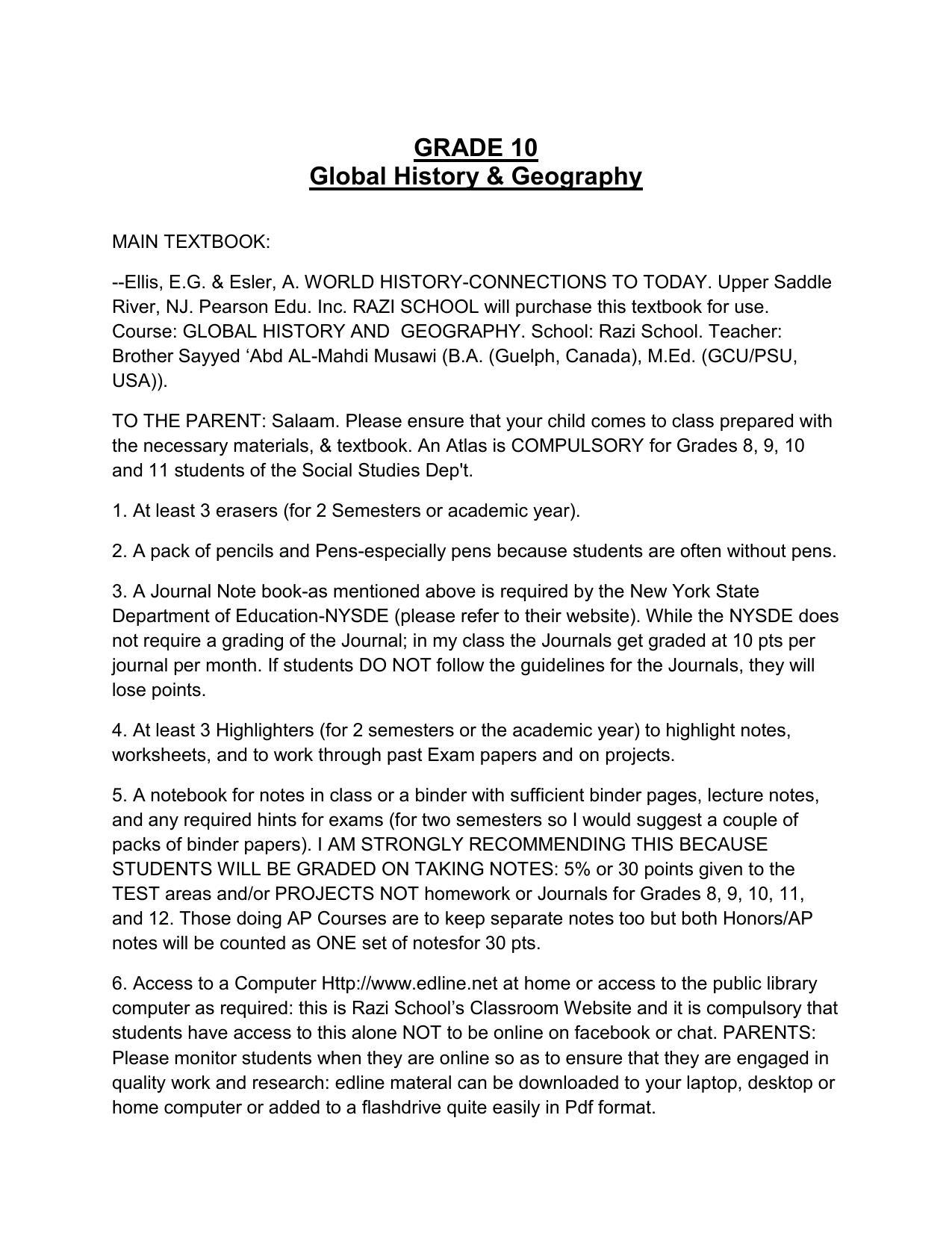 hight resolution of Grade 10 Global History \u0026 Geography