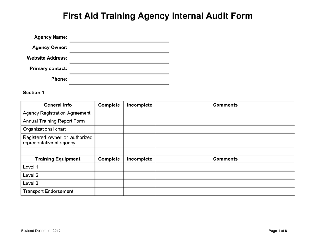 Sample First Aid Training Agency Internal Audit Form