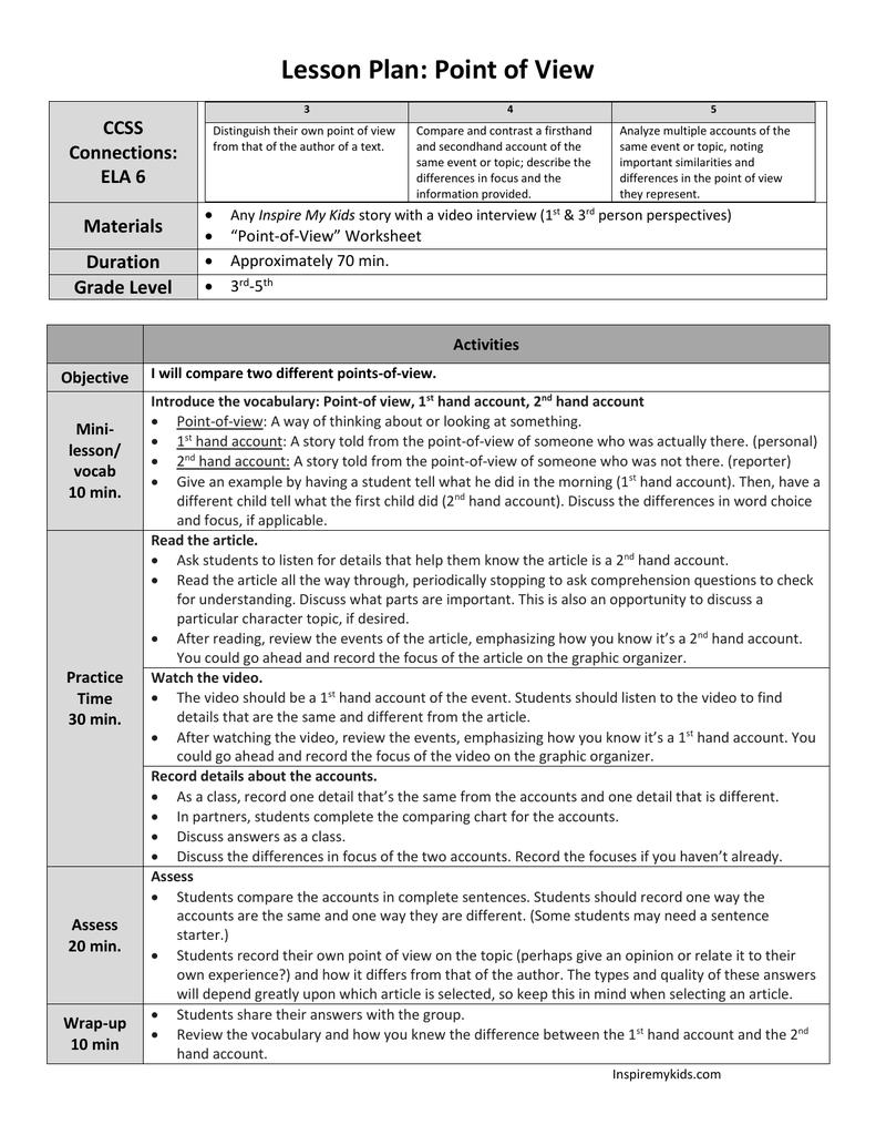 medium resolution of Point of View (Grades 3-5 ELA RI.6)