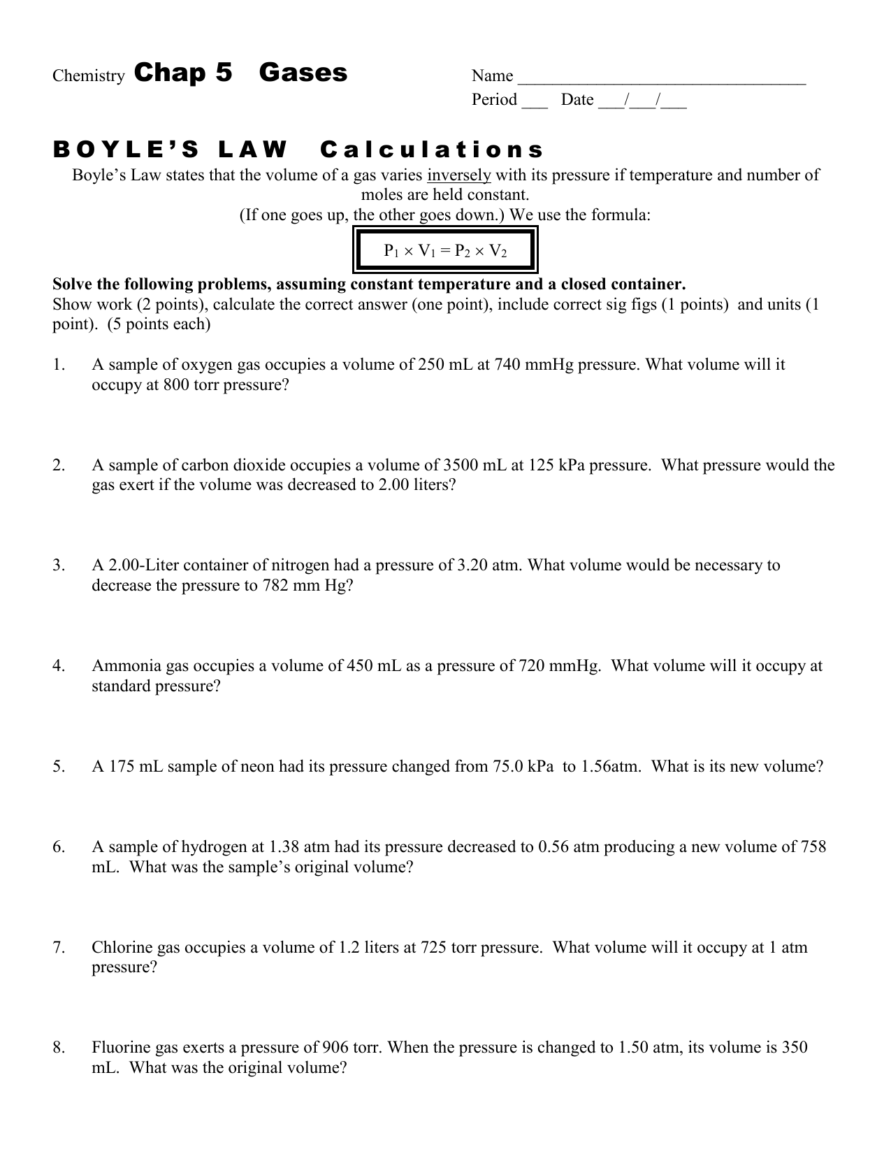 Chap 12 Boyle S Law Worksheet Boyle S Law Wksht 12