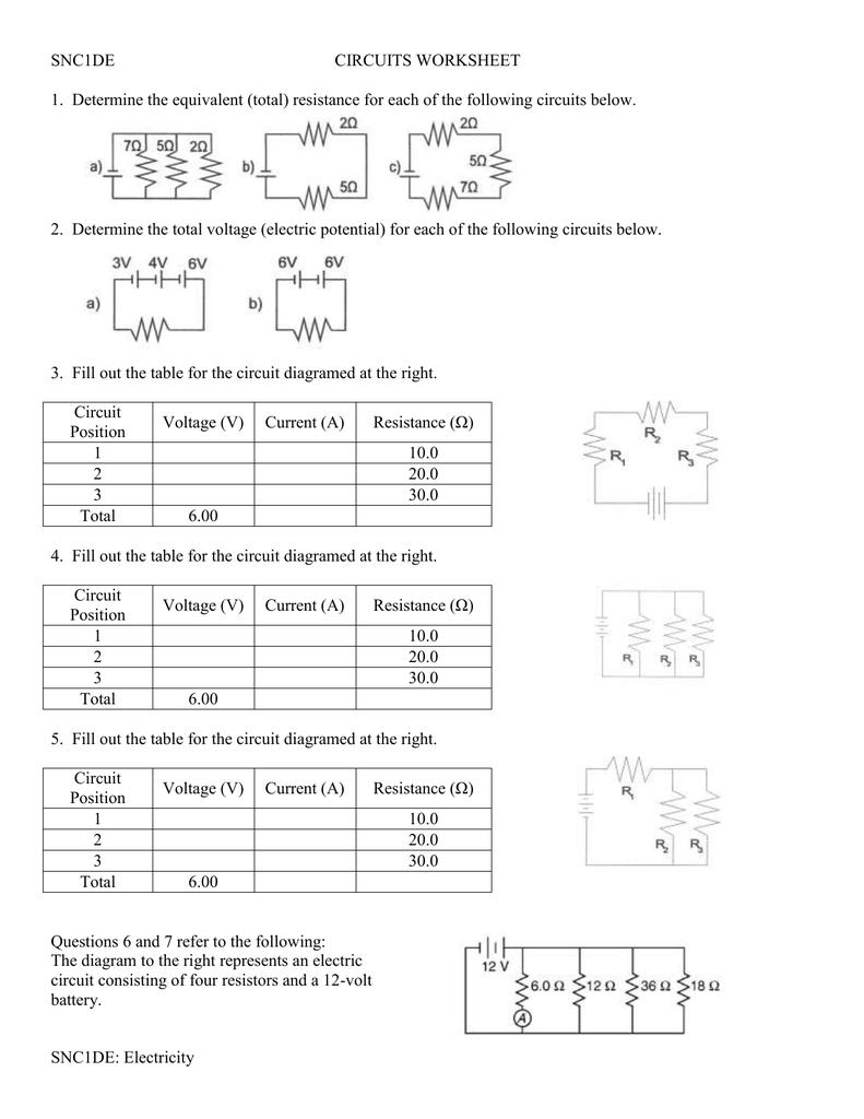 Circuits Worksheet Answers : circuits, worksheet, answers, CIRCUITS, WORKSHEET