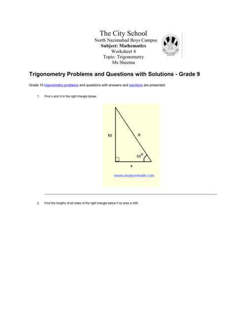 small resolution of Grade 10 trigonometry problems and questions with answers and