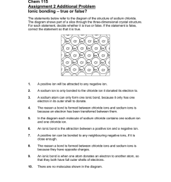 chem 115 assignment 2 additional problem ionic bonding true or false the statements below refer to the diagram of the structure of sodium chloride  [ 791 x 1024 Pixel ]