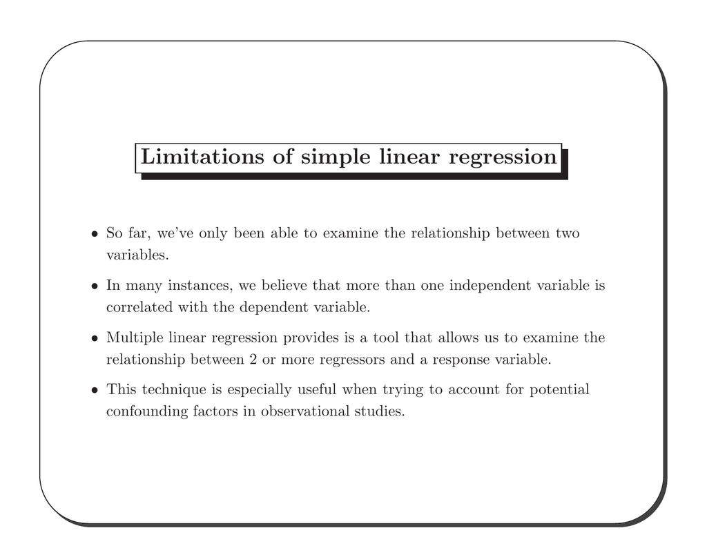 Limitations Of Simple Linear Regression